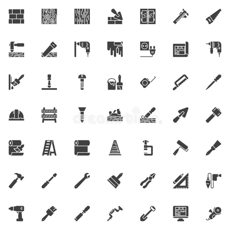 Construction and home repair tool vector icons set. Modern solid symbol collection, filled style pictogram pack. Signs, logo illustration. Set includes icons vector illustration