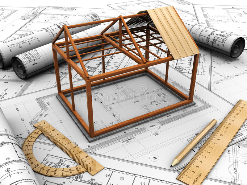 Download Construction house stock illustration. Image of drawing - 25824689