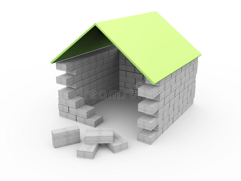 Download Construction Of The House 3D Stock Illustration   Illustration Of  Blueprint, Housing: 14964424