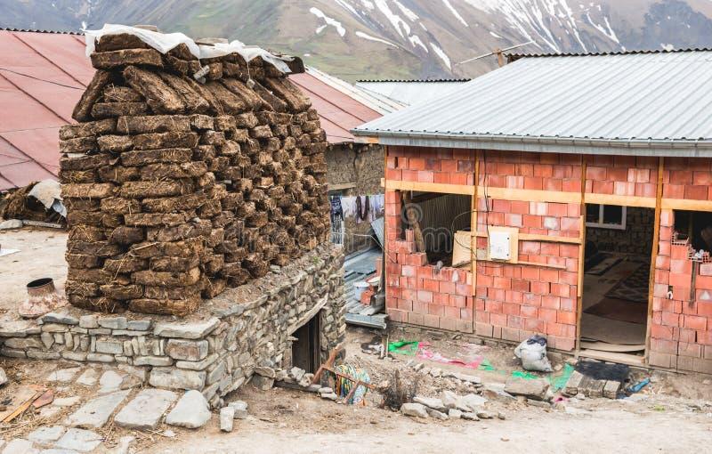 Construction of a house in the mountain village. Of Khinalig, Azerbaijan stock photo