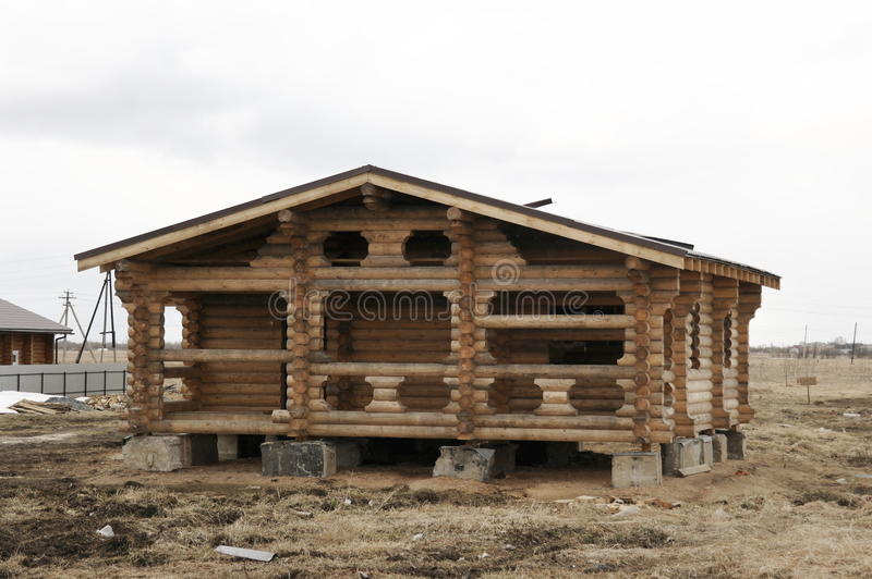 Construction of houses of timber stock image