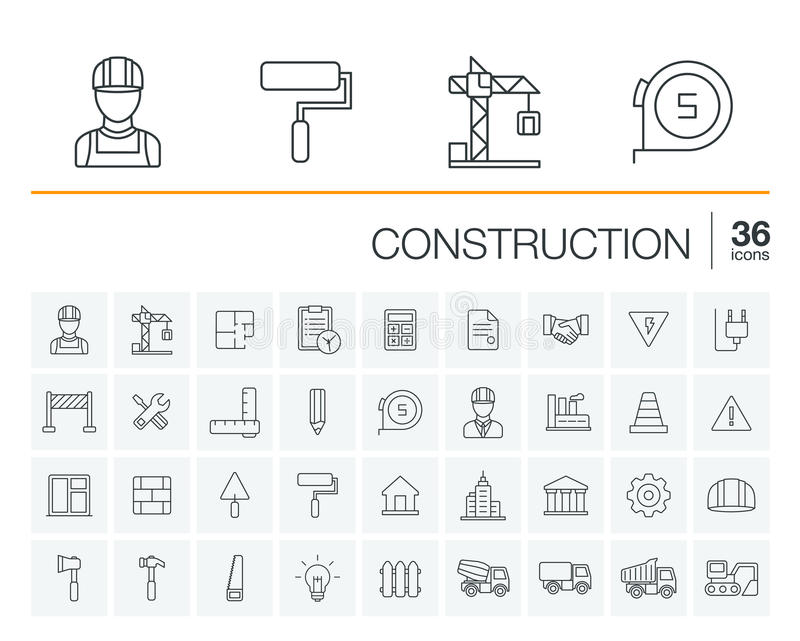 Construction, icônes industrielles de vecteur illustration stock