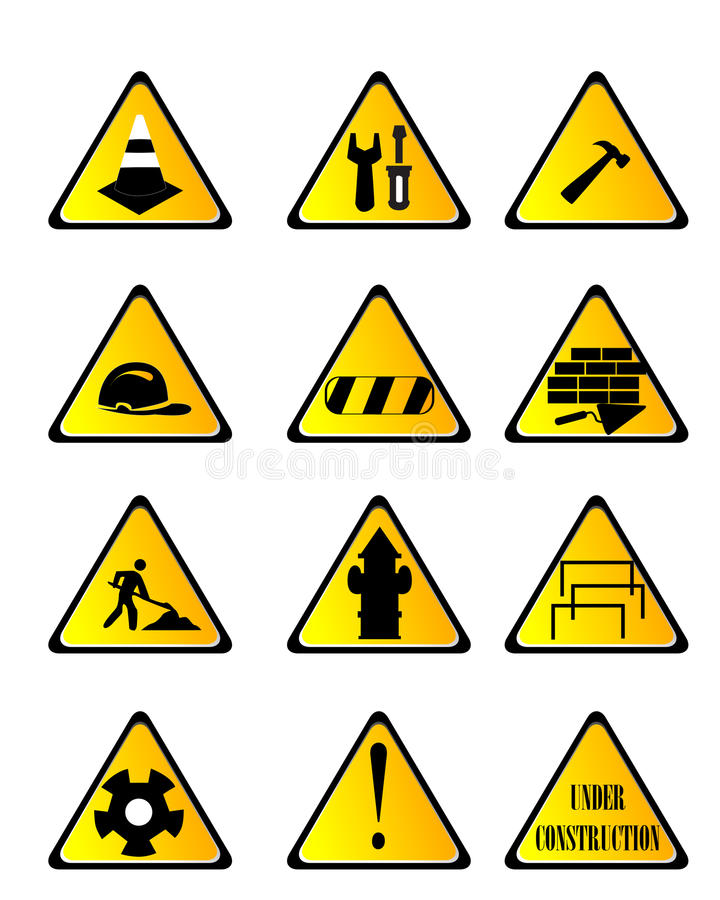 Construction icon. Construction and diy black silhouette icon button set stock illustration