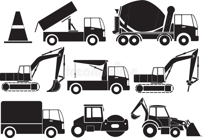 Construction icon. Construction and industrial machinery icon set stock illustration