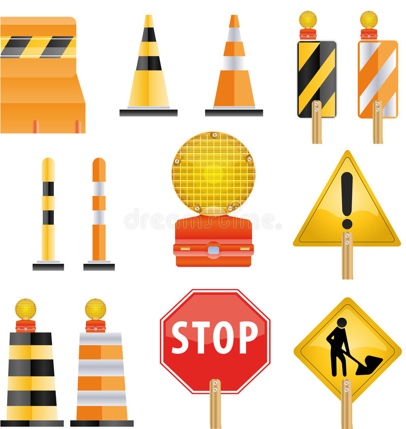 Construction icon set. Of road Barrier and light stock illustration