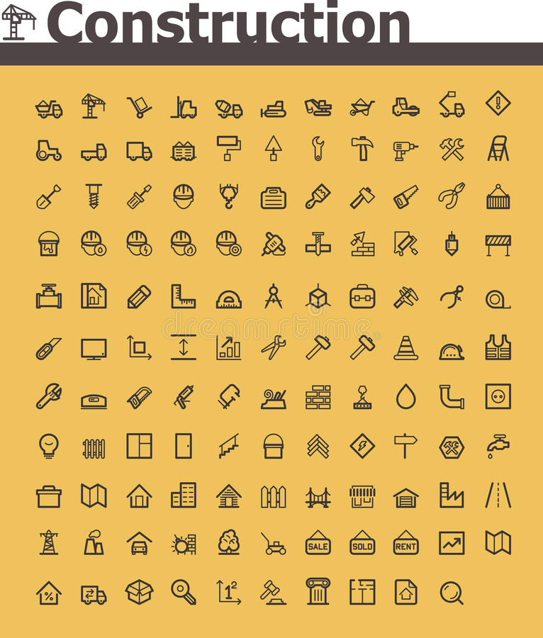 Construction icon set. Set of the simple construction and real estate related icons