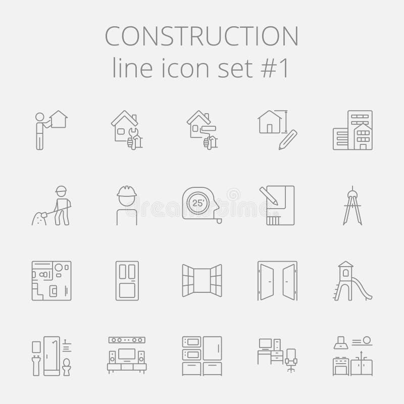 Construction icon set. Vector dark grey icon isolated on light grey background royalty free illustration