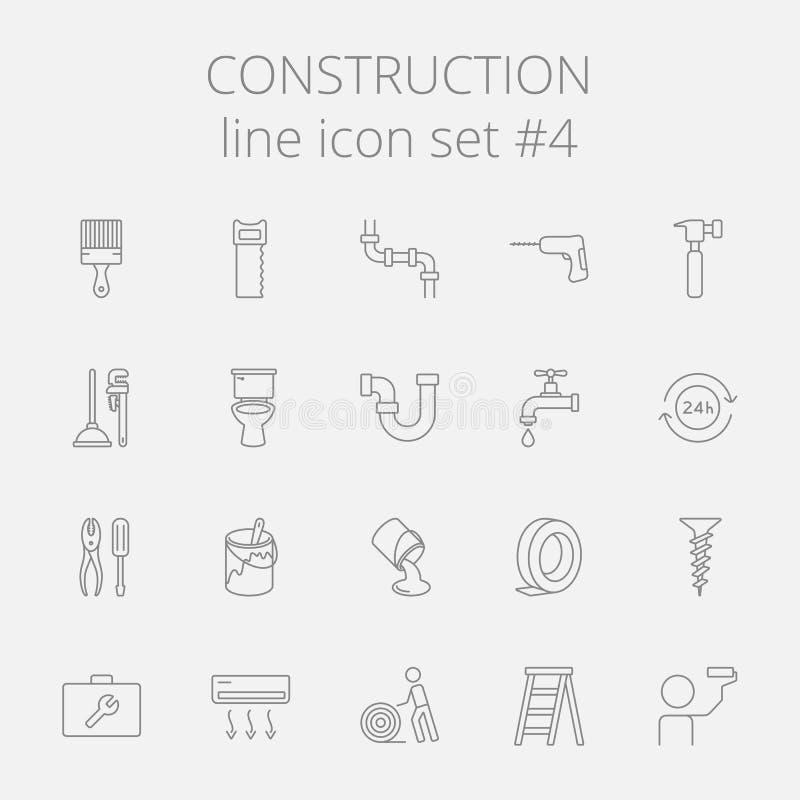 Construction icon set. Vector dark grey icon isolated on light grey background stock illustration