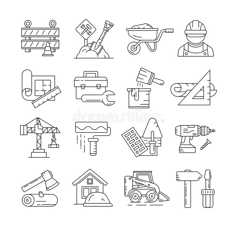 Construction icons or building thin line signs vector. Construction line icons or building thin line signs vector. Construction building and equipment for vector illustration