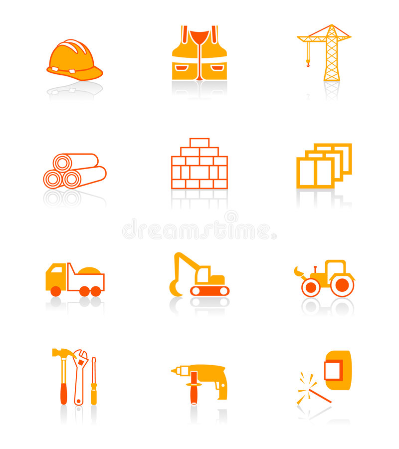 Construction icons | JUICY series stock illustration