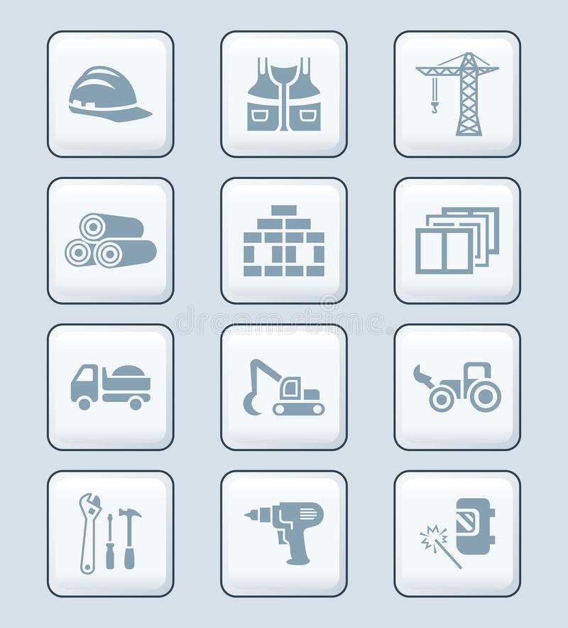 Construction icons | TECH series royalty free illustration