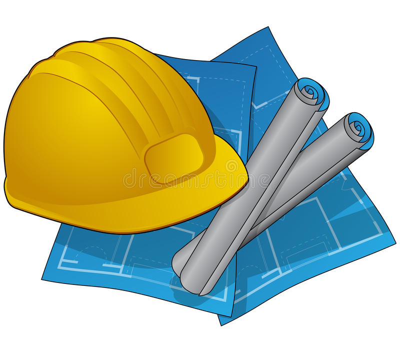 Construction icons withblueprints and hardhat royalty free illustration