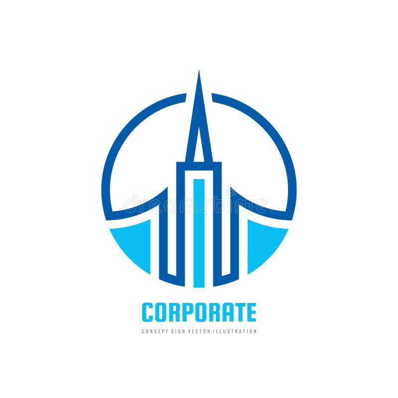 Construction - illustration de concept de calibre de logo de vecteur Symbole abstrait d'immobiliers Signe créatif de construction illustration de vecteur