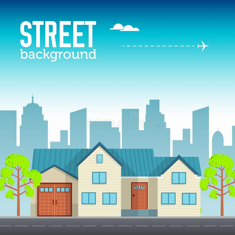 Construction individuelle de famille dans l'espace de ville avec la route sur le concept plat de fond de style Conception d'illus illustration de vecteur