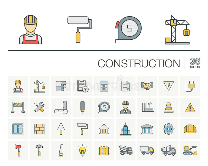 Construction, industrial color vector icons vector illustration