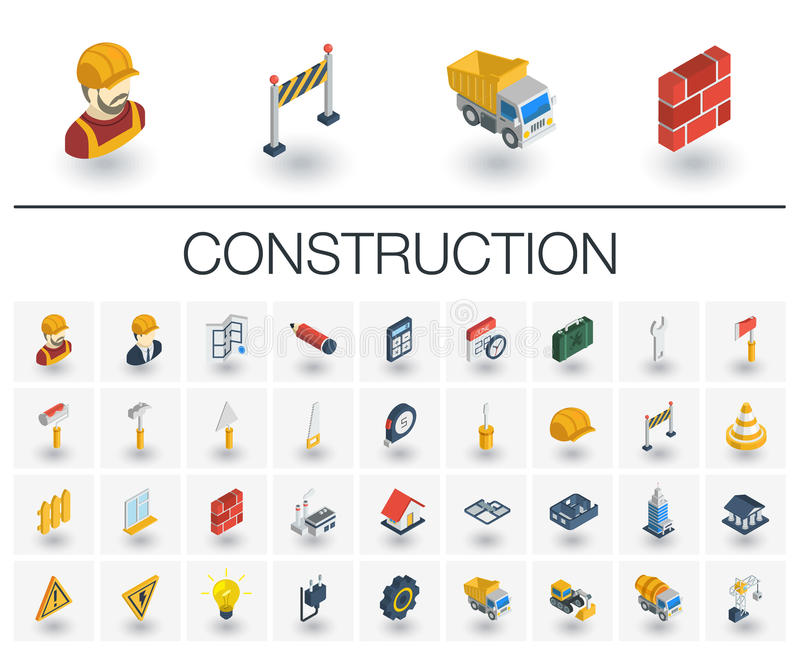 Construction, industrial isometric icons. 3d vector stock illustration