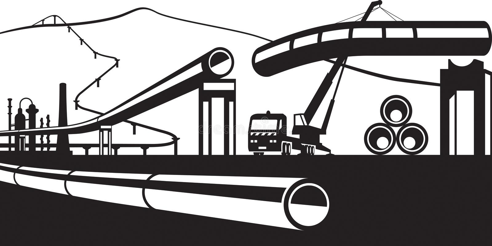 Construction of industrial pipelines royalty free illustration