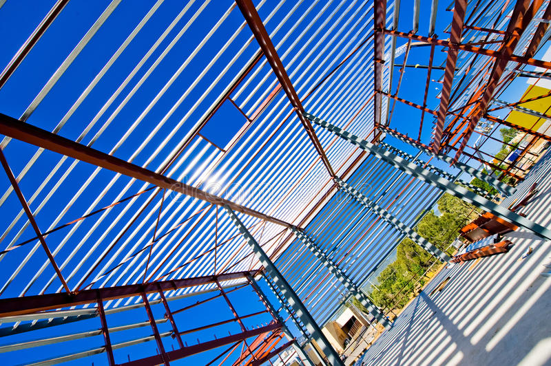 Construction Of Industrial Sheds Stock Photos