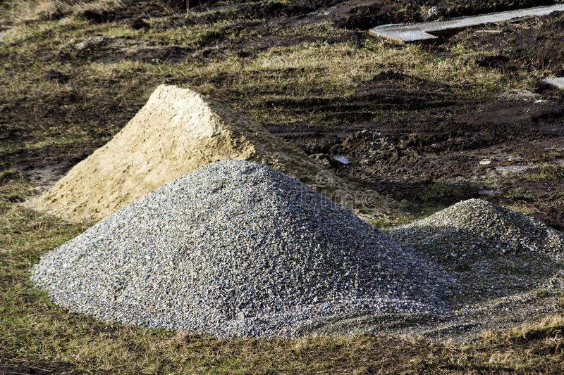 Construction industrial site rocks and sand pile royalty free stock images