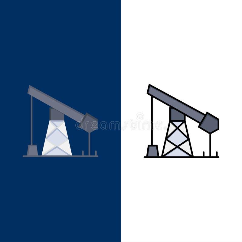 Construction, industrie, pétrole, icônes de gaz L'appartement et la ligne icône remplie ont placé le fond bleu de vecteur illustration de vecteur
