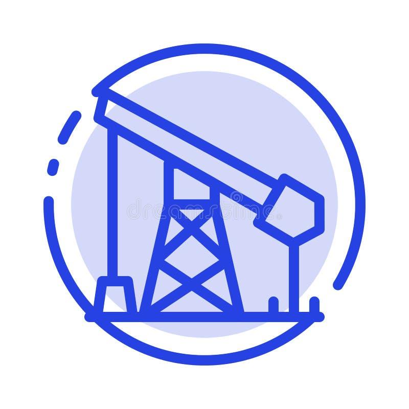 Construction, industrie, pétrole, ligne pointillée bleue ligne icône de gaz illustration libre de droits