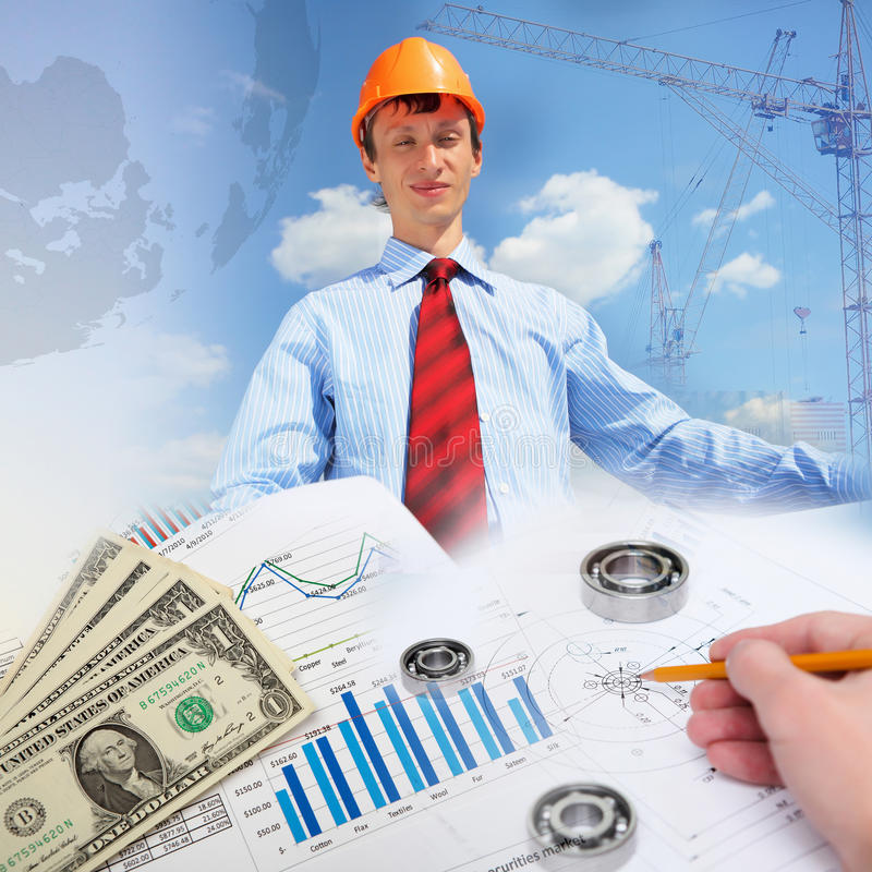 Construction industry collage. Collage with a business person and construction images royalty free stock images