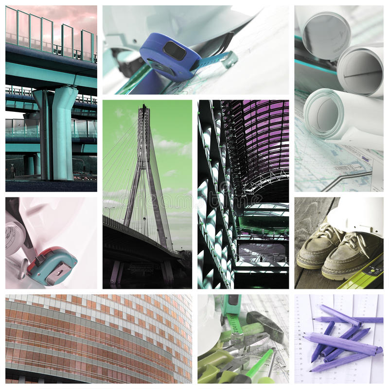 Construction industry - collage. Construction industry tools and equipment - collage stock image