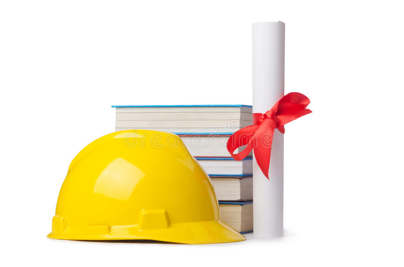 Construction industry education concept. On white stock images