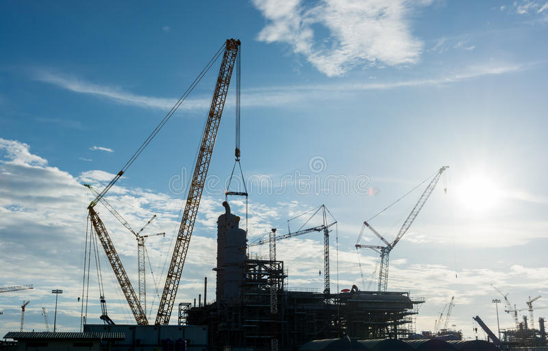 Construction Industry oil rig refinery working site. Asia in Thailand royalty free stock photo