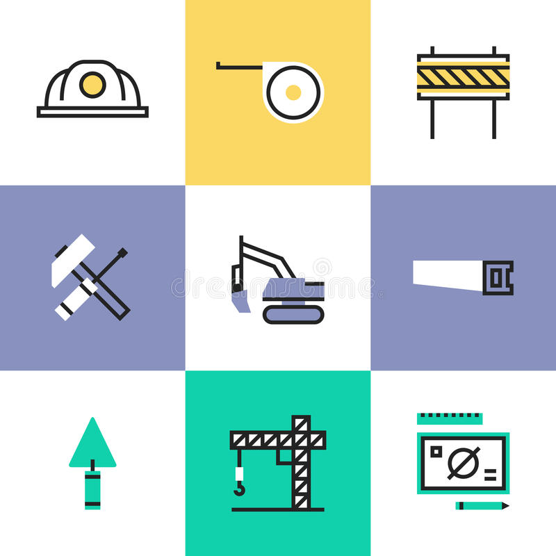 Construction industry pictogram icons set royalty free illustration