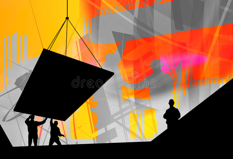 Construction industry, team work stock illustration