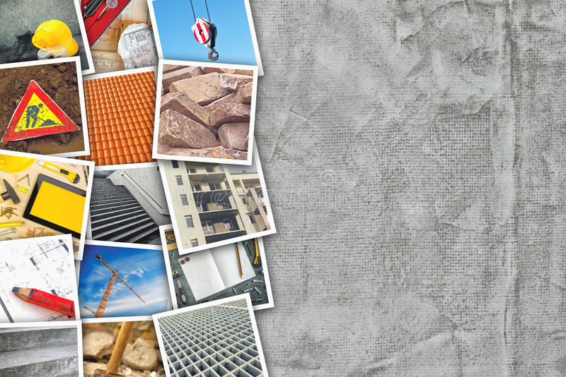 Construction industry themed photo collage. With stacked pictures over cement concrete wall texture as copy space royalty free stock image