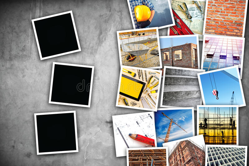 Construction industry themed photo collage. With stacked pictures over cement concrete wall texture as copy space and three blank frames for design mock up stock image