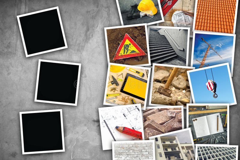 Construction industry themed photo collage. With stacked pictures over cement concrete wall texture as copy space and three blank frames for design mock up stock photos