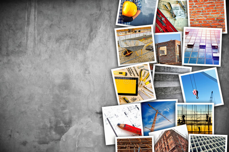 Construction industry themed photo collage. With stacked pictures over cement conrete wall texture as copy space stock photography