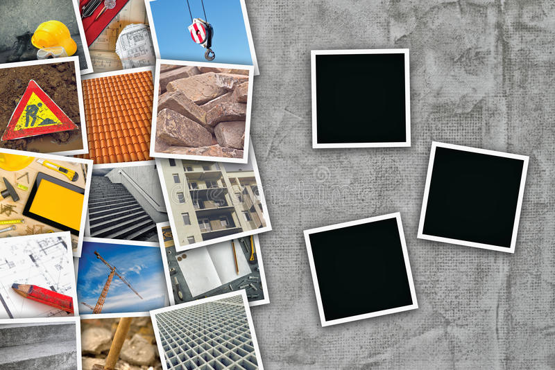 Construction industry themed photo collage. With stacked pictures over cement conrete wall texture as copy space and three blank frames for design mock up stock photos