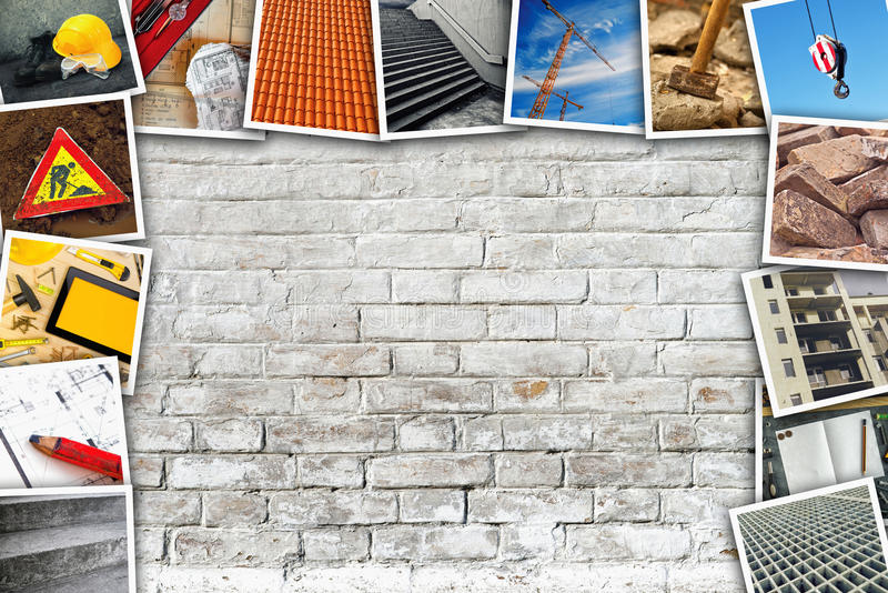 Construction industry themed photo collage. With stacked pictures over white brick wall texture as copy space royalty free stock photography