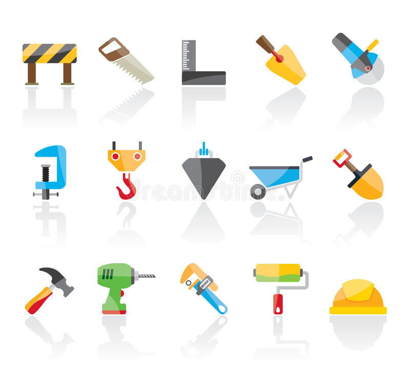 Construction industry and Tools icons stock illustration