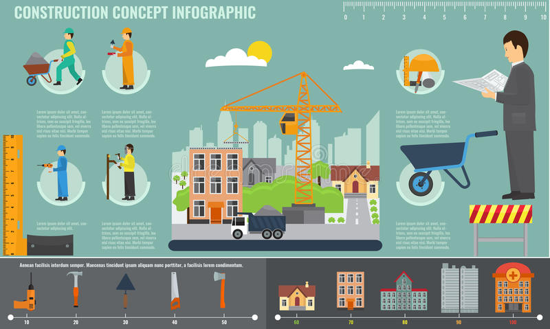 Construction infographics set with engineer and workers equipment tools. royalty free illustration