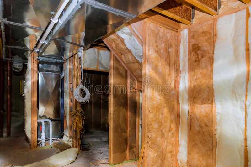 Construction intérieure établissant l'installation électrique photographie stock libre de droits