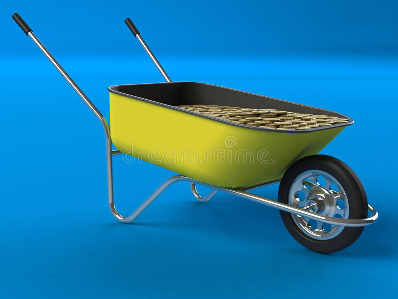 Construction investment. Wheelbarrow with dollar coins. Construction investment three dimensional concept stock illustration