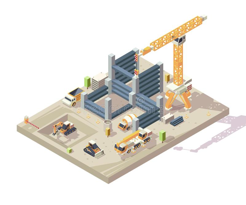 Construction isometric. Outdoor building high appartment construction workers vehicles yellow cars crane transporter royalty free illustration