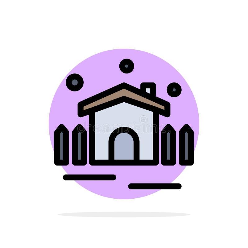 Construction, jardin, patio, icône plate de couleur de fond de cercle d'abrégé sur abri illustration de vecteur