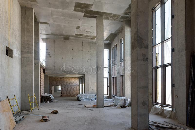Construction of large building. Inside the modern construction site stock image