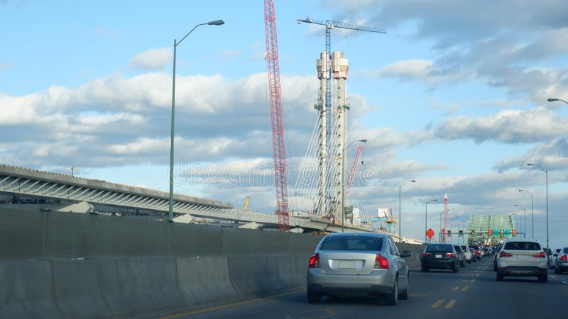 Construction of a large pylon royalty free stock photography