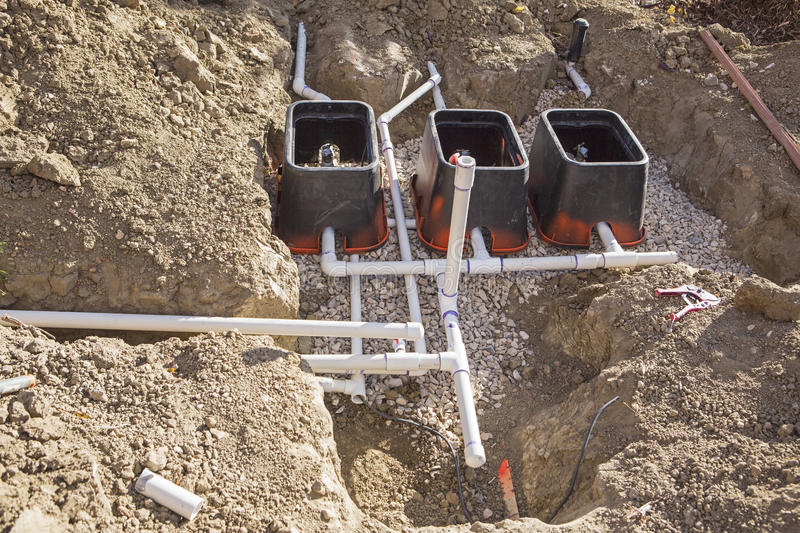 Construction Lawn Irrigation System Installation Stock