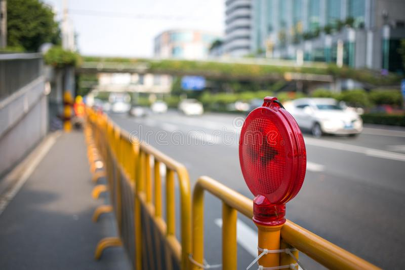 Construction light. On the city road stock photo