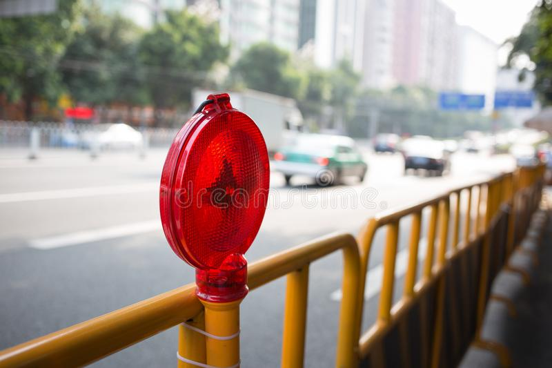 Construction light. On the city road royalty free stock photos