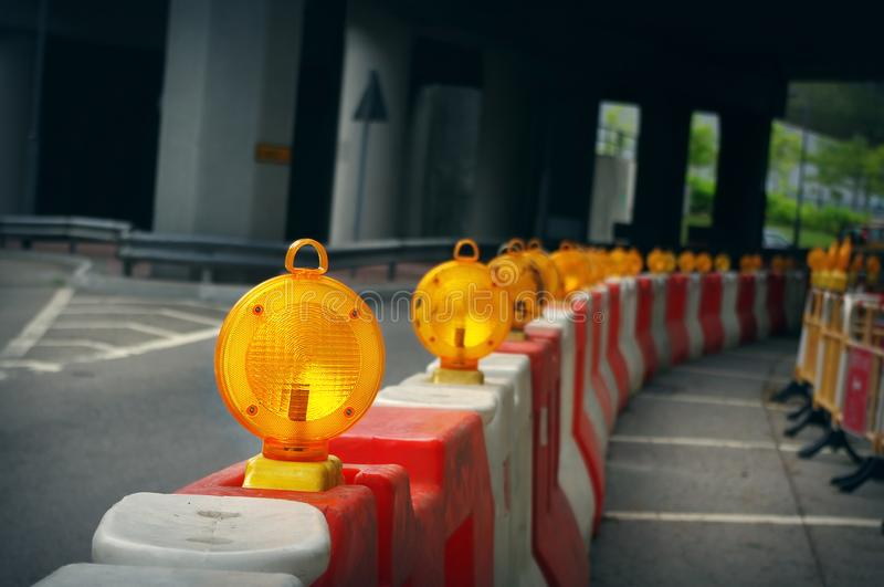 Construction light. On the city road royalty free stock photography