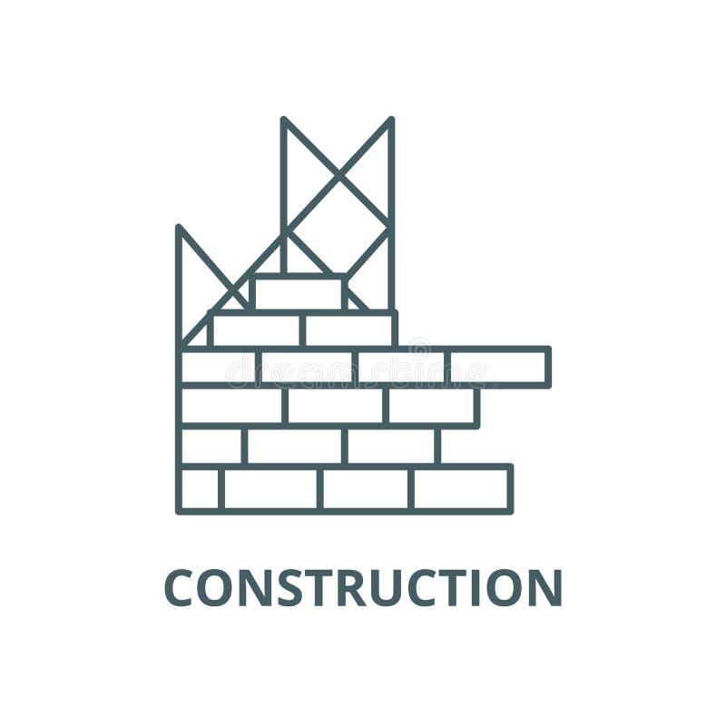 Construction, ligne icône, vecteur de mur de briques de bâtiment Construction, signe d'ensemble de mur de briques de bâtiment, illustration de vecteur